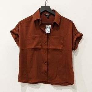 New! Express Burnt Orange Button Up Sz XXS